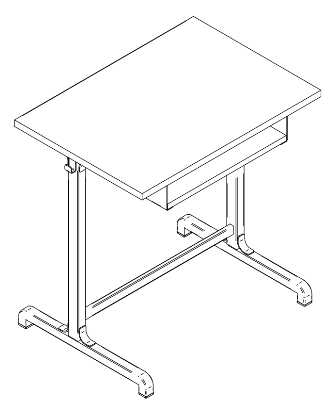 School desk with shelf
